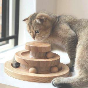 猫のおもちゃ 猫じゃらし 遊ぶ盤回転 コロコロ ボール 二層 木製 運動不足 ストレス解消