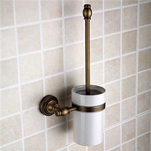 トイレブラシホルダー トイレ用品 トイレブラシ&ポット付き 真鍮製 ブロンズ