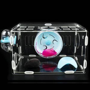 ハムスターケージ 透明ハウス 飼育ケージ アクリル 回り車 食器 給水ボトル付き 通気 組立て式 小動物用