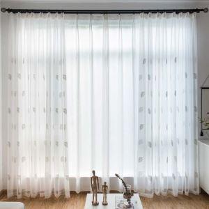 シアーカーテン レースカーテン オーダーカーテン 葉柄 刺繍 北欧風 カーテン(1枚)