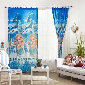 遮光カーテン オーダーカーテン 捺染 アナと雪の女王柄 子供屋 遮光カーテン(1枚)