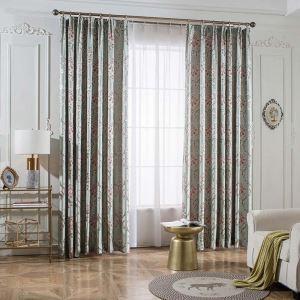 遮光カーテン オーダーカーテン ジャカード 花柄 北欧風 3級遮光カーテン(1枚)