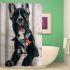 シャワーカーテン バスカーテン 防水防カビ プリント オシャレ 浴室用 リング付 可愛い犬柄 3D立体