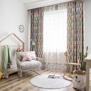 遮光カーテン オーダーカーテン 捺染 フクロウ柄 子供屋 寝室 3級遮光カーテン(1枚)