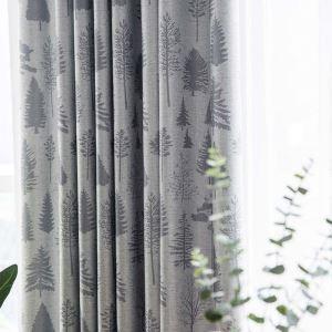 遮光カーテン オーダーカーテン 捺染 松柄 リビング 寝室 3級遮光カーテン(1枚)