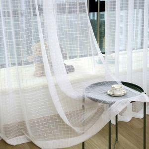 シアーカーテン レースカーテン オーダーカーテン ジャカード 格子柄 白色 北欧風 カーテン(1枚)