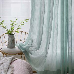 シアーカーテン レースカーテン オーダーカーテン 緑色 無地 和風 カーテン(1枚)