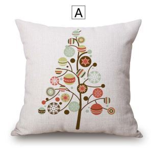クッションカバー 抱き枕カバー 枕カバー ギフト 綿麻 クリスマスツリー柄 Christmas 4色