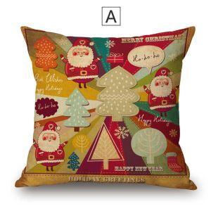 クッションカバー 抱き枕カバー 枕カバー ギフト 綿麻 クリスマス柄 Christmas 5色
