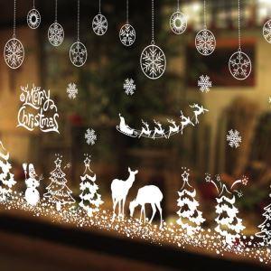ウォールステッカー 転写式ステッカー PVCシール シート式 壁窓 剥がせる クリスマス柄 雪花雪だるま