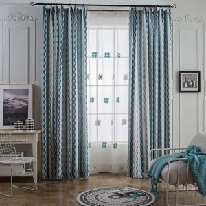 遮光カーテン オーダーカーテン 北欧 ジャカード 波柄 3級遮光カーテン(1枚)