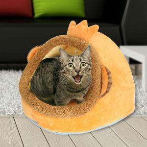 ペットベッド ペットハウス ペット用寝床 セミオープン フェルト 秋冬 暖かい 犬猫用