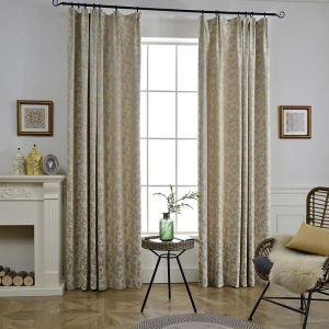 遮光カーテン オーダーカーテン 和風 ジャカード 枝柄 べジュー 3級遮光カーテン(1枚)