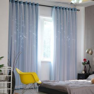 遮光カーテン オーダーカーテン シアーカーテン付 透かし彫り 星 オシャレ 1級遮光カーテン(1枚)