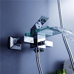 浴槽水栓 壁付水栓 バス蛇口 冷熱混合栓 滝状吐水口 ガラス製