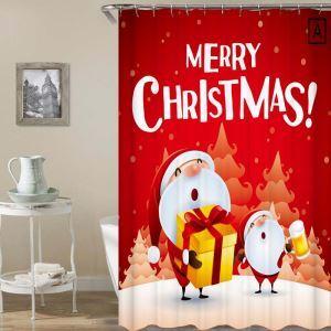 シャワーカーテン バスカーテン 防水防カビ プリント 浴室用 リング付 オシャレ クリスマス Christmas 漫画柄