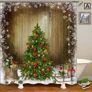 シャワーカーテン バスカーテン 防水防カビ プリント 浴室用 リング付 オシャレ クリスマス Christmas クリスマスツリー