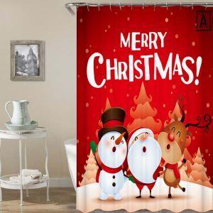 シャワーカーテン バスカーテン 防水防カビ プリント 浴室用 リング付 オシャレ クリスマス Merry Christmas