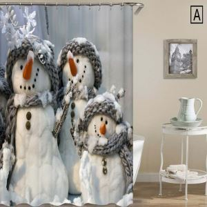 シャワーカーテン バスカーテン 防水防カビ プリント 浴室用 リング付 オシャレ クリスマス Christmas 雪だるま