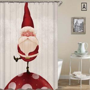 シャワーカーテン バスカーテン 防水防カビ プリント 浴室用 リング付 オシャレ クリスマス Christmas サンタクロース