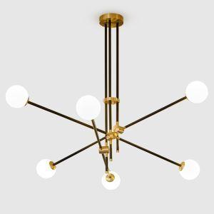 シャンデリア 照明器具 リビング照明 ダイニング照明 寝室照明 幾何型 北欧風 4/6灯 黒色