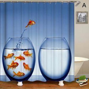 シャワーカーテン バスカーテン 防水防カビ プリント オシャレ 浴室用 リング付 金魚柄 3D立体