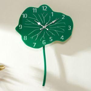 時計 壁掛け時計 静音時計 クロック 現代的 アクリル 蓮の葉 創意 AP16028