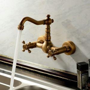 壁付水栓 キッチン蛇口 台所蛇口 冷熱混合栓 360度回転 2ハンドル ブロンズ色