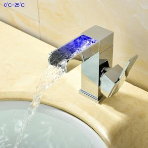 LEDバス蛇口 洗面水栓 立水栓 冷熱混合栓 水道蛇口 水流発電 温度センサー付 クロム