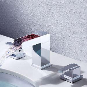 LEDバス蛇口 洗面水栓 立水栓 冷熱混合栓 水道蛇口 水流発電 温度センサー付 クロム 3点