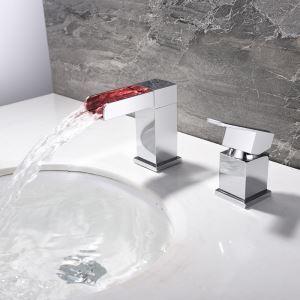 LEDバス蛇口 洗面水栓 立水栓 冷熱混合栓 水道蛇口 水流発電 温度センサー付 2点 クロム