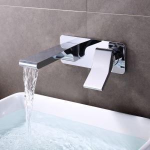 壁付水栓 洗面蛇口 バス水栓 水道蛇口 冷熱混合栓 クロム