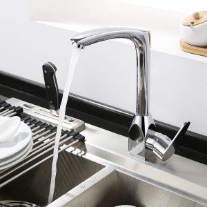 キッチン蛇口 台所蛇口 冷熱混合栓 シンク用水栓 水道蛇口 クロム オシャレ