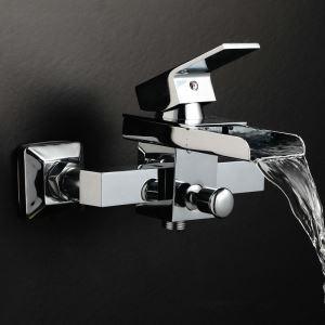 浴槽水栓 壁付蛇口 バス水栓 冷熱混合栓 水道蛇口 真鍮 滝状吐水口