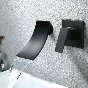 浴槽水栓 壁付水栓 バス蛇口 冷熱混合栓 水栓金具 滝状吐水口 黒色 2点