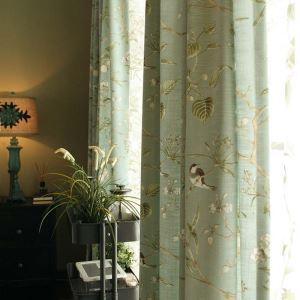 遮光カーテン オーダーカーテン 捺染 小鳥柄 綿麻 北欧 3級遮光カーテン(1枚)