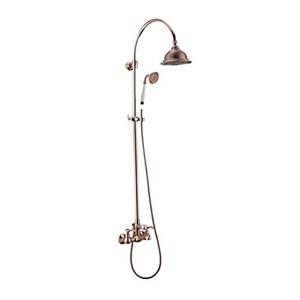 レインシャワーシステム シャワーバー バス水栓 ヘッドシャワー+ハンドシャワー ローズ
