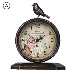 時計 置き時計 静音時計 クロック 鳥 金属 北欧風 レトロ 創意 インテリア FG706
