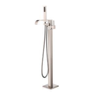 床置きシャワー水栓 床立ち上げ式浴槽蛇口 バス水栓 冷熱混合栓 ハンドシャワー付き ヘアライン HAY