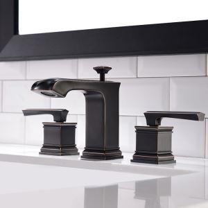 洗面蛇口 バス水栓 冷熱混合栓 手洗器蛇口 水栓金具 2ハンドル 置き型 3点 ORB HAY
