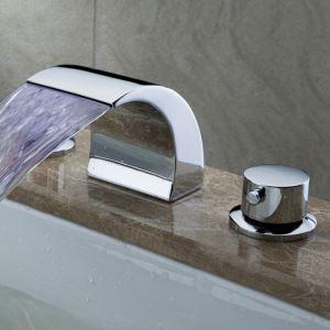 3色LEDバス水栓 洗面蛇口 浴槽水栓 冷熱混合栓 滝状吐水口 2ハンドル クロム 3点 LPT191