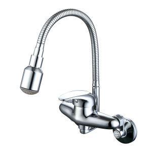 3色LEDキッチン蛇口 壁付水栓 台所蛇口 冷熱混合栓 水道蛇口 クロム 回転可能