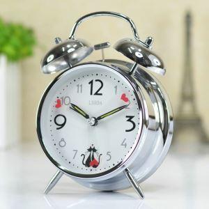 時計 置き時計 静音時計 クロック 金属 北欧風 レトロ 創意 インテリア クロム N405