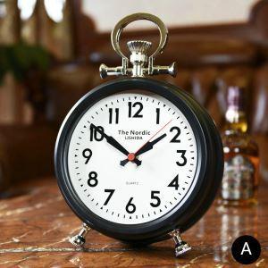 時計 置き時計 静音時計 クロック 金属 北欧風 レトロ 創意 インテリア 黒色 金色 FG707