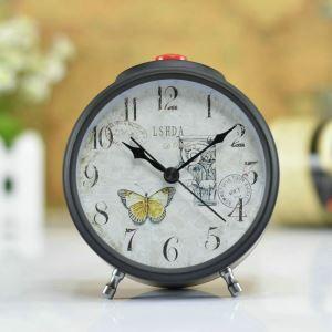 時計 置き時計 静音時計 クロック 金属 北欧風 レトロ 創意 インテリア 黒色 N407