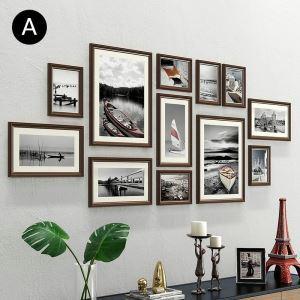 壁掛けフォトフレーム 写真立てセット 額縁 フォトデコレーション 木製 12個セット YO1312