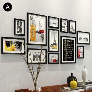 壁掛けフォトフレーム 写真立てセット 額縁 フォトデコレーション 木製 12個セット YO1212