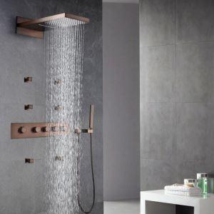 埋込形シャワー水栓 サーモスタット式混合栓 レインシャワーシステム ヘッドシャワー+ハンドシャワー バス水栓 ORB