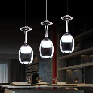 LEDペンダントライト ワイングラス照明 天井照明 照明器具 方形 3灯 LED対応