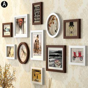 壁掛けフォトフレーム 写真立てセット 額縁 フォトデコレーション 木製 11個セット DP11A